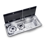DOMETIC MO 9722 TWO-BURNER HOB AND SINK COMBINATION WITH GLASS LID